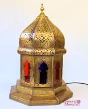 Moroccan Lantern Vintage Brass Hexagonal Rare Unique Hand Crafted 1950s Marrakech H. 60 cm W. 40cm